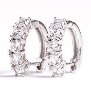 Iced Out CZ Huggie Hoop  Snap Silver  Earrings